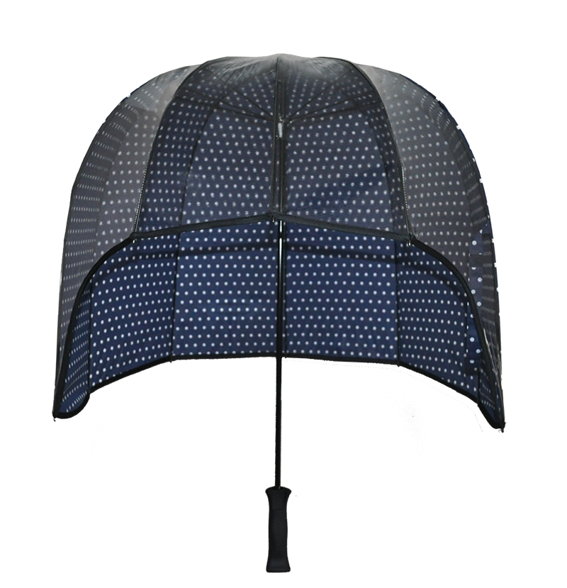 Ladies Blue Polkadot umbrella with clear front panel for viewing